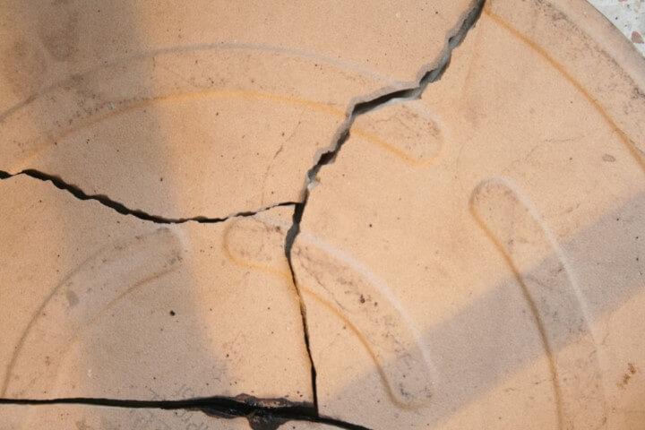האבן לאחר שחוממה ונשברה
