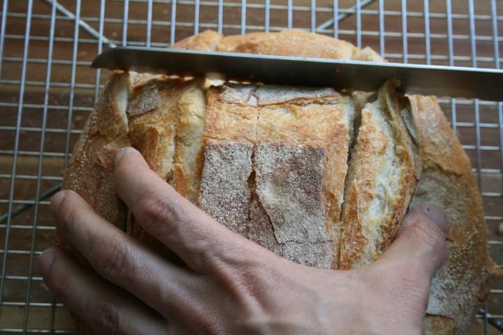 סכין חותכת את לחם הגבינה